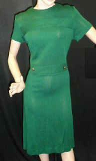 FAB INDI VTG 60s 70s EMERALD GREEN KNIT DRESS NEW OLD NOS 6 8