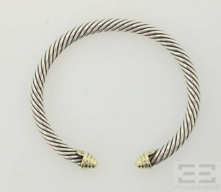 David Yurman Sterling Silver & 14K Yellow Gold Cable Bracelet