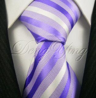 DENG YING New Striped Purple White Jacquard Woven Mens 100% Silk Ties
