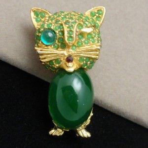 Cat Brooch Pin Vintage DeNicola Green Winking Brooch Rhinestones