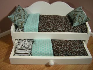 DAYBED WITH TRUNDLE and BEDDING   fits AMERICAN GIRL DOLL BROWN/TEAL