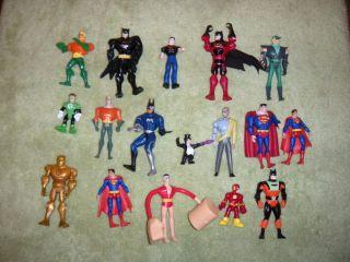 DC Comics Lot of 17 Action Figures Superman Batman Aquaman Flash MORE