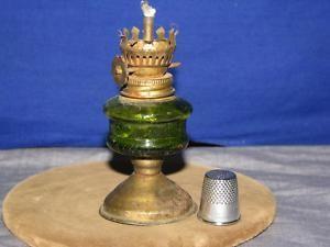 Emerald Green Glass Font Brass Base Miniature Oil Lamp
