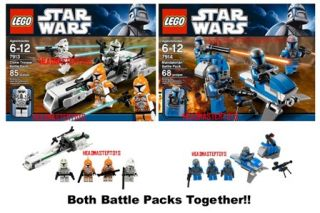Star Wars Lego 7914 Mandalorian 7913 Clone Battle Packs SEALED in Hand