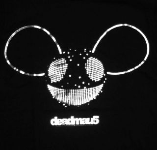 Deadmau5 Mouse Logo Silver Foil Techno Dubstep Dance Adult T Shirt Tee
