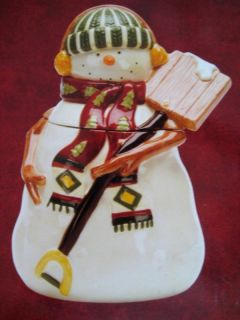 Debbi Mumms North Country Snowman Cookie Jar NEW