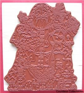 Large Folk Art Santa Claus Christmas Toys for Children Rubber Stamp