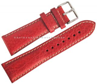 22mm deBeer Red Chrono Sport Leather Mens Distressed Watch Band Strap