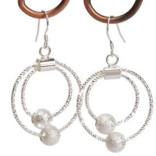 plated 925 silver double hoop circles beads eardrop dangle earrings