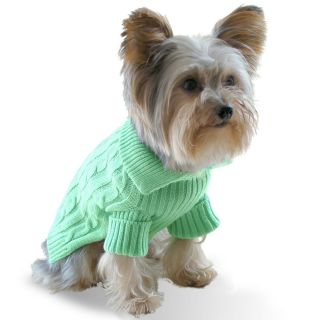 Dog Aran Sweater Pistachio Green Size Small to Large Designer Pet