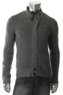 Designer Black White Wool Marled Long Sleeves Full Zip Sweater N A