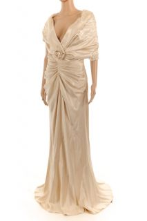 CHRISTIAN DIOR Pale Gold With Ivory Glass Bead Wedding / Evening Dress