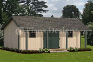 Guest House /Storage Shed with Porch Plans, Bonnet Roof Style #P81624