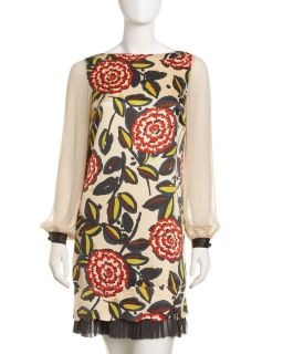 Tory Burch Chiffon Sleeve Brocade Dress