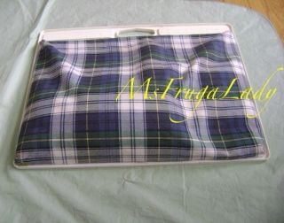 Large 18x14 Blue Green Plaid Lap Desk Pad Note Writing Notepad Book