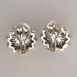 Late Art Deco 14k white gold black Onyx open work diamond button style