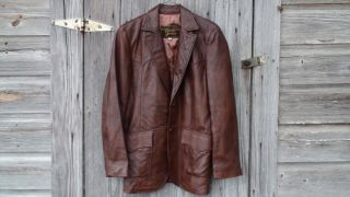 DAVID JAMES Stylish Western Size 40R Mens Leather sport coat jacket