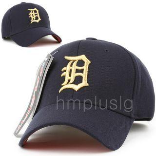 Detroit Tigers Flex Fit Ball Cap Hat MB Gold Navy Blue