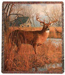 60x50 Deer River Wildlife Tapestry Afghan Throw Blanket