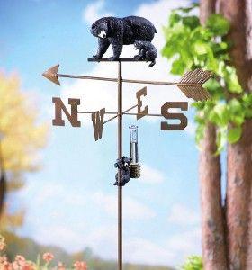 DECOR CUTE BLACK BEAR GARDEN WEATHERVANE & RAIN GAUGE YARD STAKE NEW