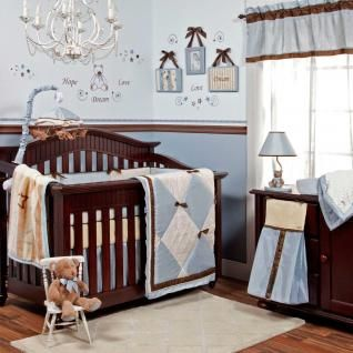 Blue Cream & Brown Bows Modern Baby Boy Nursery Crib Bedding Set