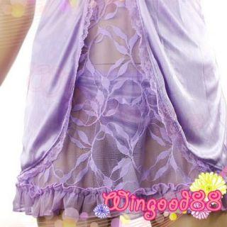 Women Sexy Lace Lingerie Sleepwear Deep V Halter Babydoll Dress G