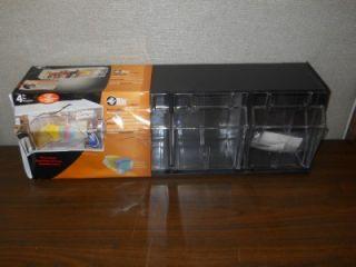 Deflecto 20404OP Black Tilt 4 Bin Plastic Storage System 23 5 8 x 6 5
