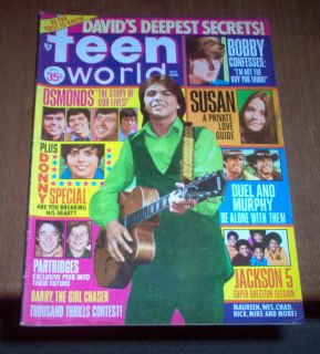 World Magazine 1971 David Cassidy Bobby Sherman Susan Dey Donny Osmond