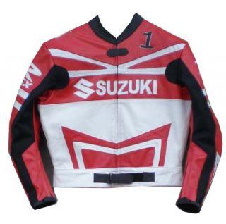 Red Black White Suzuki Motorcycle Leather Racing Jacket Size 44 Close