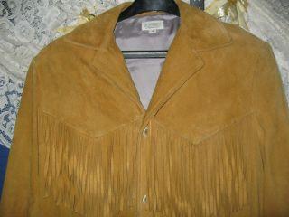 EXCLUSIVE CLOTHING FRINGE SUEDE DEER LEATHER COAT JACKET MENS S M