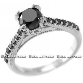 70ct Fancy Black Diamond Engagement Ring 14k White Gold Vintage