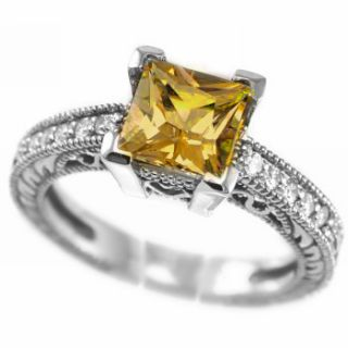 PRINCESS CITRINE & DIAMOND ENGAGEMENT RING 14K WHITE GOLD VINTAGE