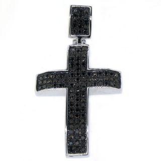 Mens Black Diamond Cross Pendant 10KT White Gold Brilliant Round Cut