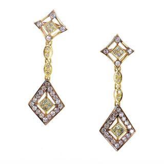 18K Yellow Gold Diamond Drop Earrings