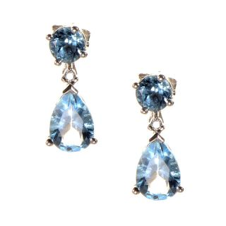 10K White Gold Topaz Diamond Drop Earrings