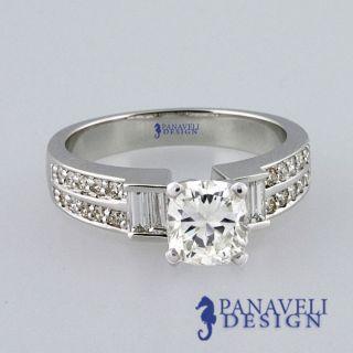 Style 1 20 Ct Cushion Cut Diamond Engagement Ring Platinum