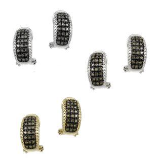 2ct Champagne or Black Diamond Half Hoop Earrings 2 Metals