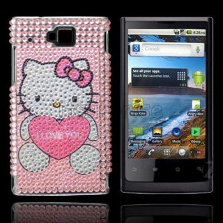 Bling Diamond Love Kitty Back Hard Case Cover for Huawei U9000 IDEOS