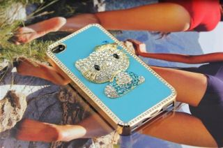 Blue Leather Bling Diamond Kitty Crystal Hard Case Cover Skin for