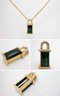 Green Tourmaline & Diamond Pendant Solid 14K Gold skuwmla91