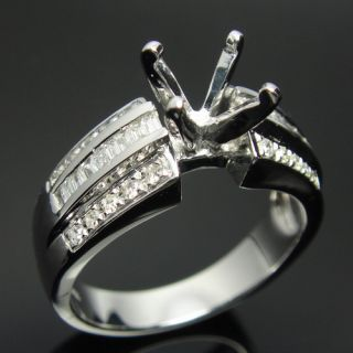 14k WHITE GOLD DIAMOND SEMI MOUNT ENGAGEMENT WEDDING RINGS SETTING