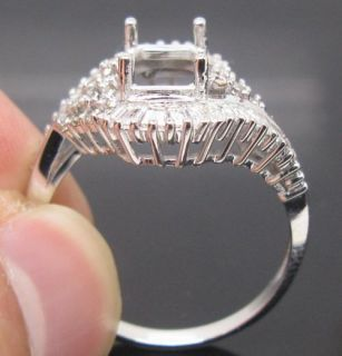 Emerald Cut 6x8mm Solid 14K White Gold Natural Diamond Semi Mount Ring