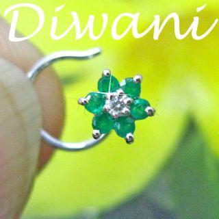 Diamond Flower 14k Gold Nefertiti Nose Piercing Ring Stud Pin