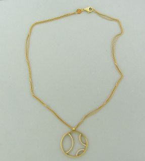 Movado 18K Yellow Gold Diamond Circle Pendant Necklace