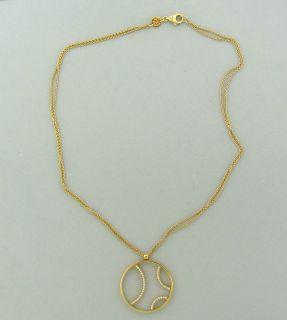Movado 18K Yellow Gold Diamond Circle Pendant Necklace