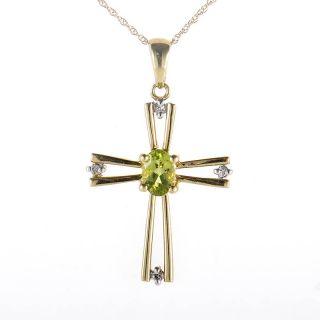 10K Yellow Gold Peridot Diamond Crucifix Pendant