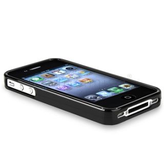 Glossy Black Gel TPU Rubber Case Headset Diamond SP for iPhone 4 4G s