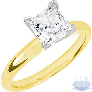 07 CT PRINCESS Diamond Solitaire Engagement Ring   14K Yellow Gold
