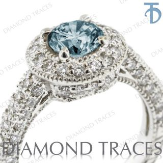 Blue SI2 Round Genuine Diamond 14k Gold Halo Engagement Ring 2.75mm