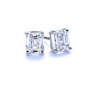 vs 0 15 Ct Baguette Diamond Stud Earrings 14k White Gold Screw Back